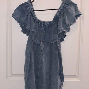 Acid wash off the shoulder denim dress